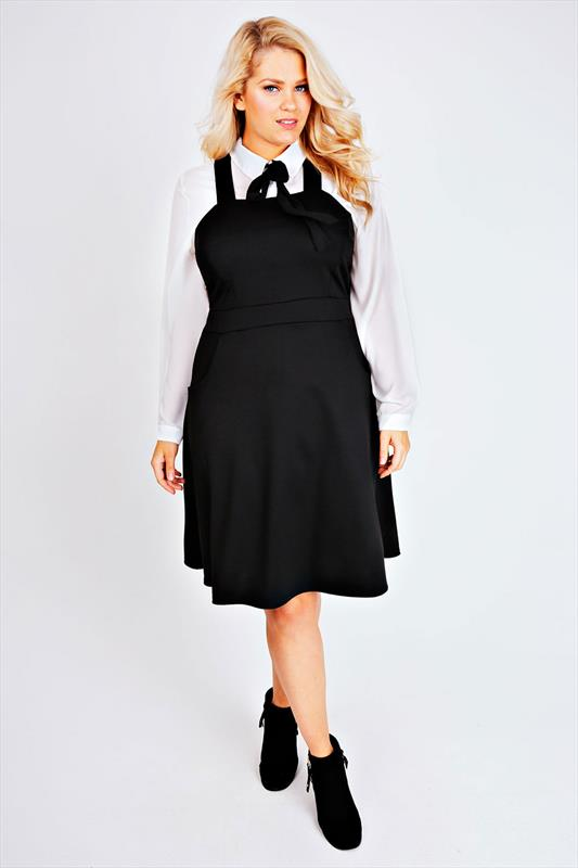 Black Ponte Skater Pinafore Dress With Pockets Plus Size 14 to 32