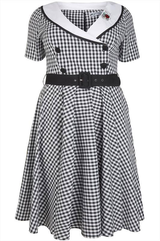 Hell Bunny Black Amp White Gingham Print 50s Midi Dress Plus