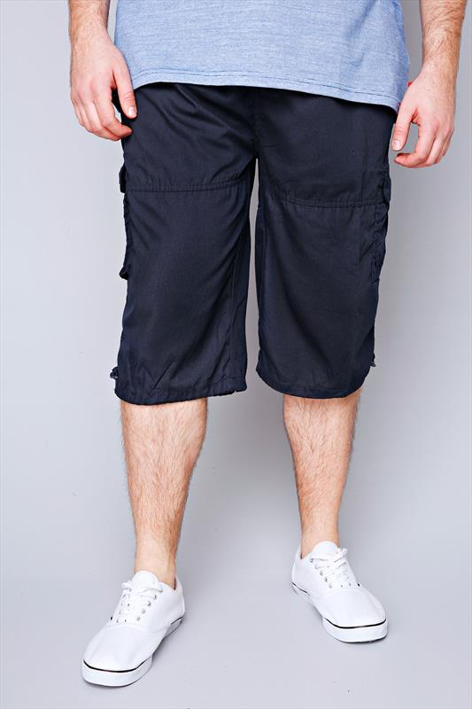D555 Navy Cargo Shorts With Pockets