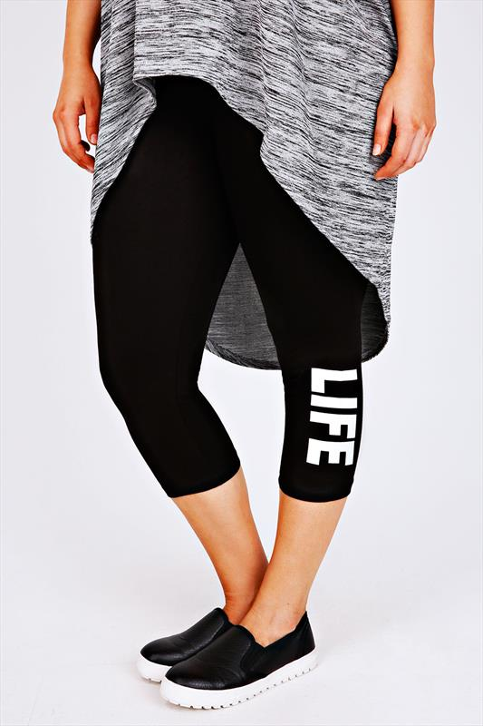 Black Cotton Elastane Cropped Leggings With 'Life' Slogan Print