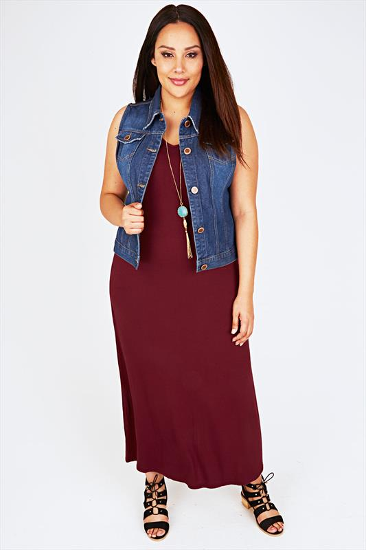 Burgundy Plain V-Neck Sleeveless Jersey Maxi Dress - PETITE