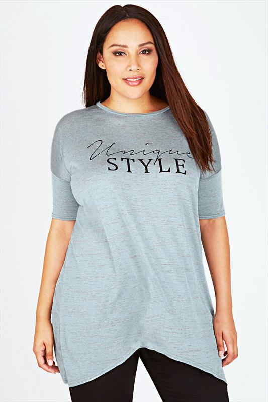 Pale Blue 'Unique Style' Print Top With Curved Hem