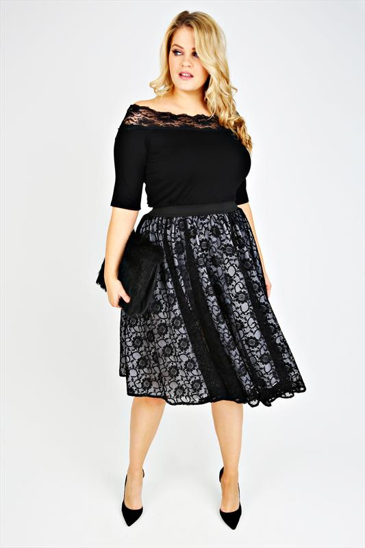 SCARLETT & JO Black Lace Layered Midi Skater Skirt With White ...