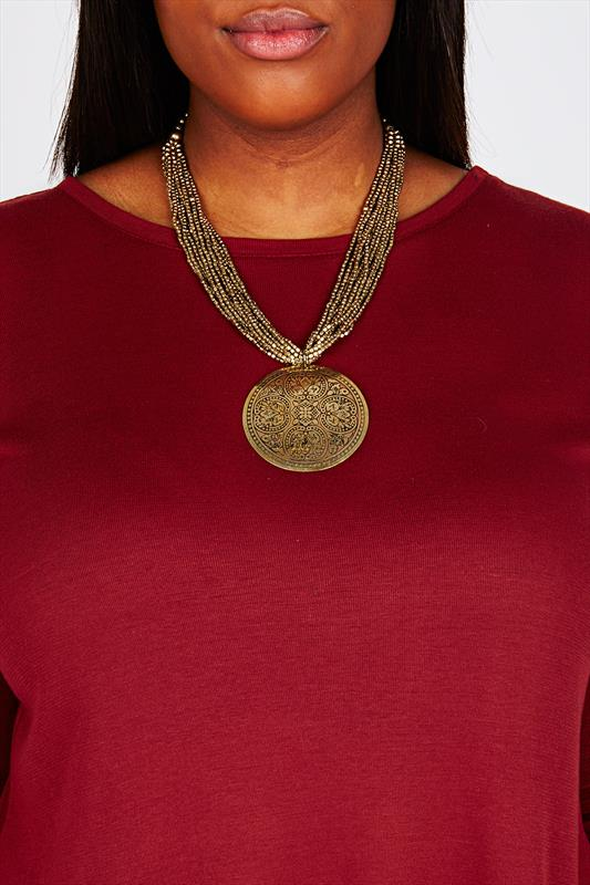 Gold Beaded Chain Engraved Plate Statement Necklace