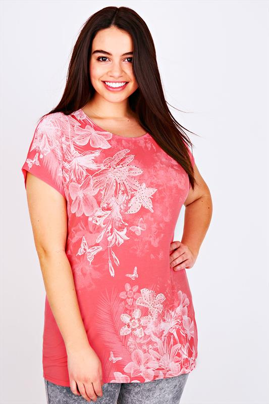 Coral Floral Print Jersey Top With Stud Detail