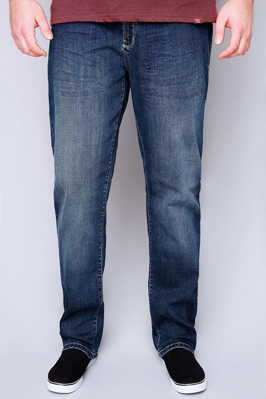 D555 Mid Wash Tapered Leg Stretch Jeans - TALL