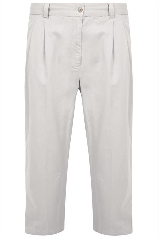 Stone Stretch Waist Chino Trousers With Pleats - TALL