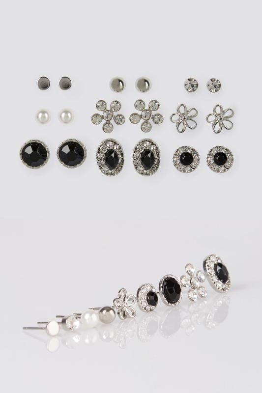 Plus Size Earrings 9 PACK Silver Mixed Stud Earrings