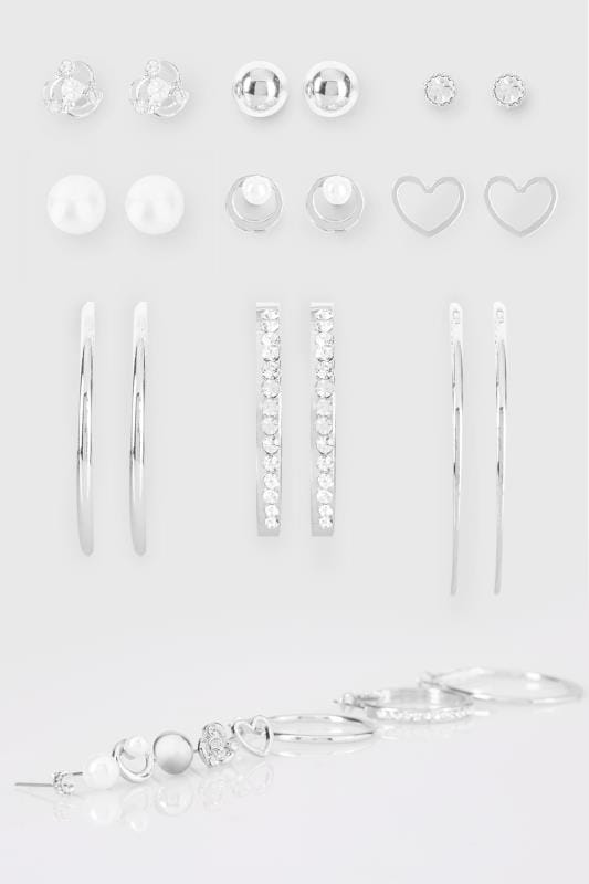 Plus Size Earrings 9 PACK Silver Stud & Hoop Earrings