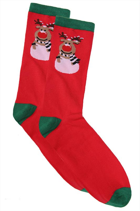Socks D555 Red & Green Reindeer Print Christmas Socks 070568