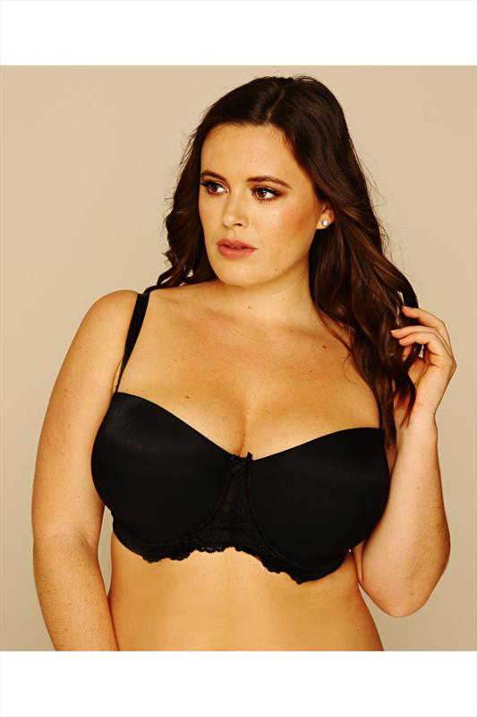 Black Multiway Microfibre Lace Bra With Additional Clear Straps