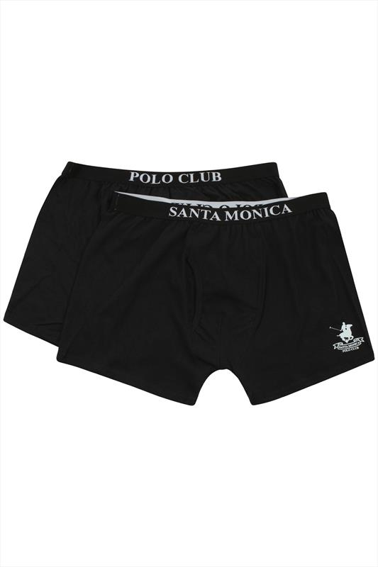 Black Santa Monica Polo Club Cotton Boxers 2 Pack
