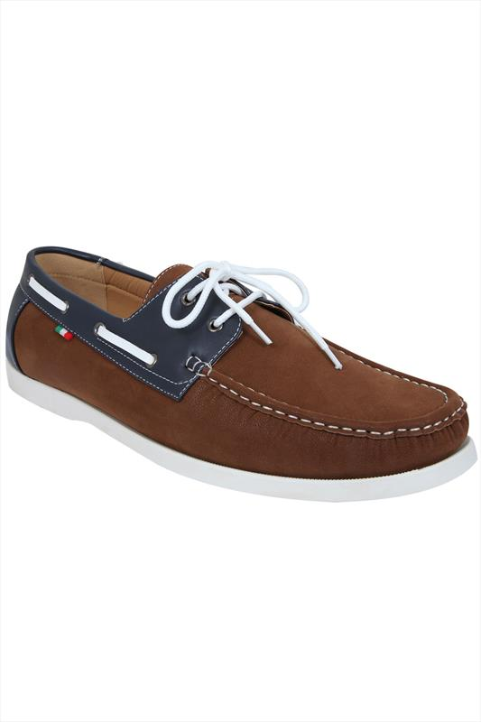 D555 Brown Lace Up Canvas Boat Shoe With Navy Trim