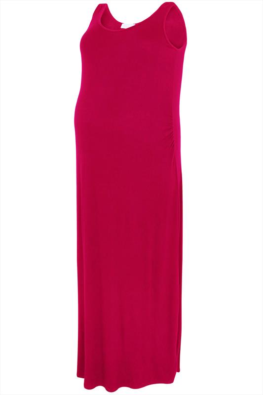 Bump It Up Maternity Magenta Maxi Dress With Ruched Side