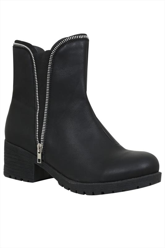 Black Chelsea Cleated Ankle Boots With Zip Detail In EEE Fit