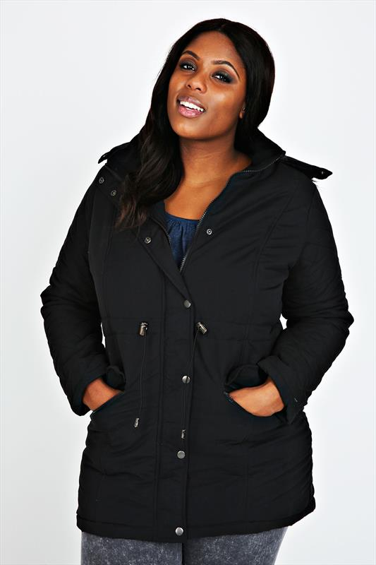 Black Parka Coat With Fur Hood & Quilted Arms
