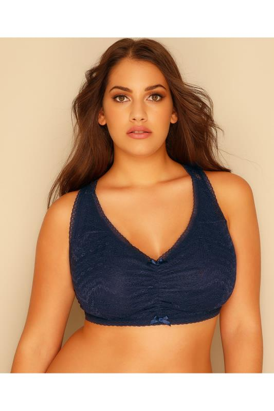 Navy All Over Lace Racer Back Bralette