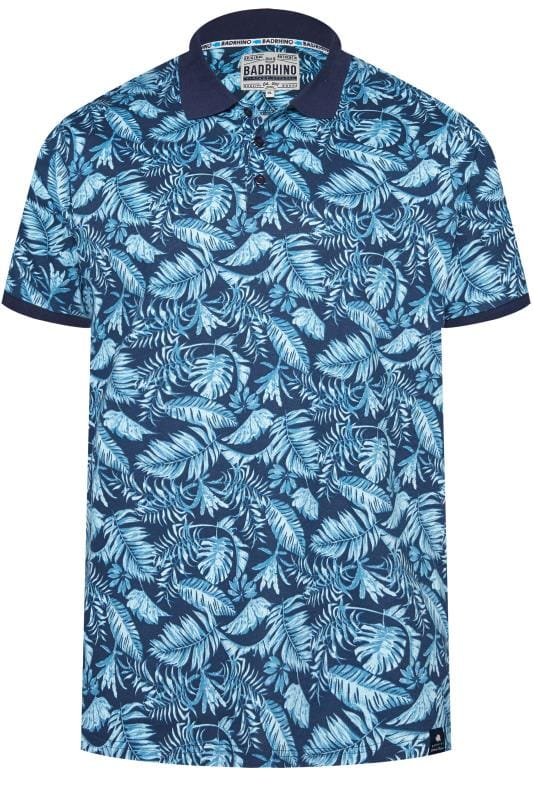 Gifts Blue Tropical Print Polo Shirt 201043