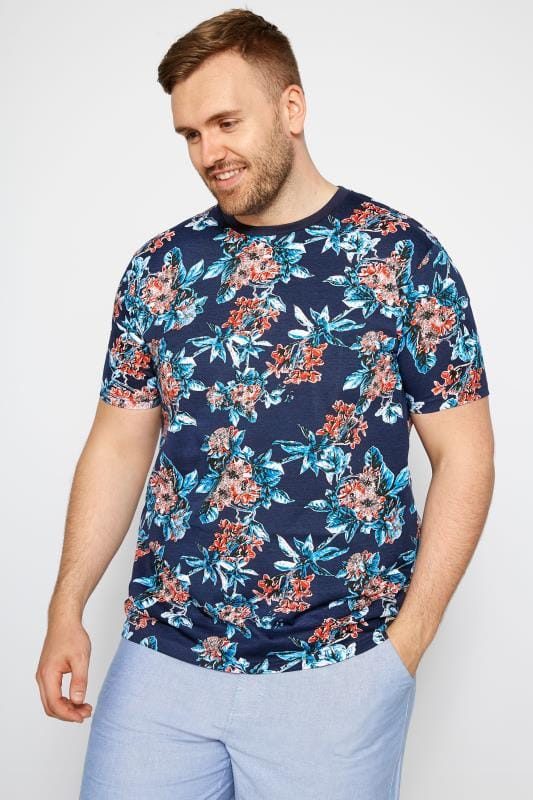 T-Shirts BadRhino Navy Tropical Floral T-shirt 201035