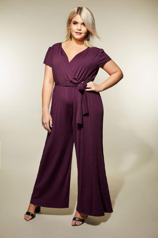 Plus Size Jumpsuits AX PARIS CURVE Burgundy Pleated Jumpsuit With Cap Sleeves