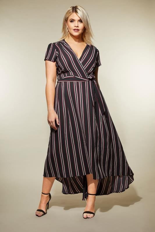 Plus Size Skater Dresses AX PARIS CURVE Black Stripe Wrap Dress