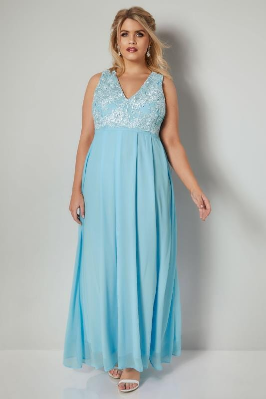 AX PARIS CURVE Baby Blue Chiffon Maxi Dress With Lace Overlay Bodice