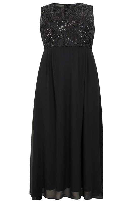 AX PARIS CURVE Black Chiffon Maxi Dress With Embellished Sequin Bodice