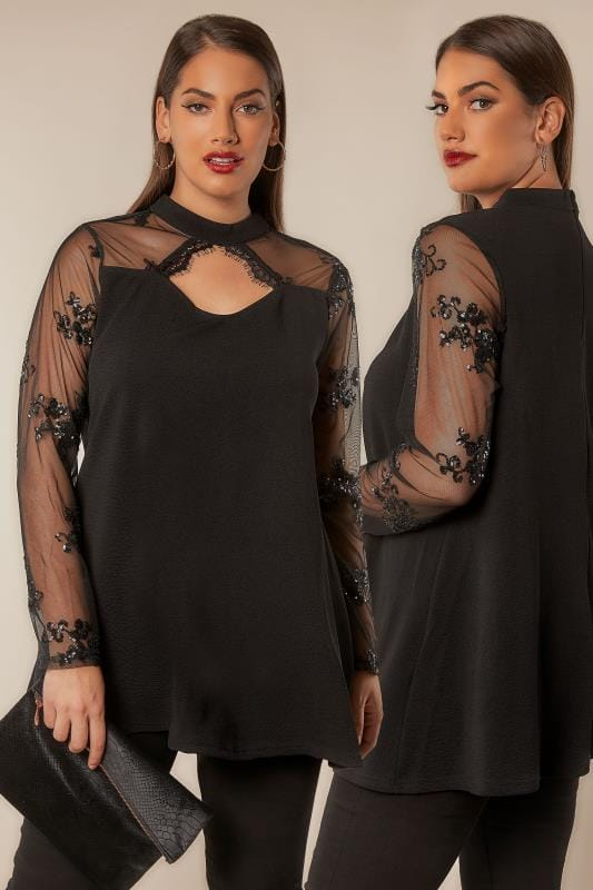 Party Tops AX PARIS CURVE Black Choker Neck Top With Sheer Sequin Embellished Sleeves 138750