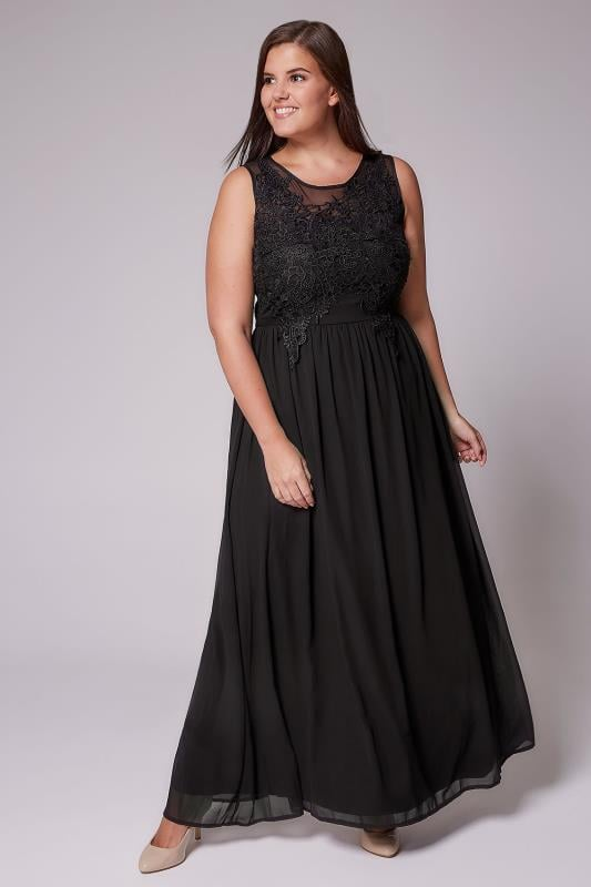 AX PARIS CURVE Black Maxi Dress With Mesh Neckline & Crochet Detail