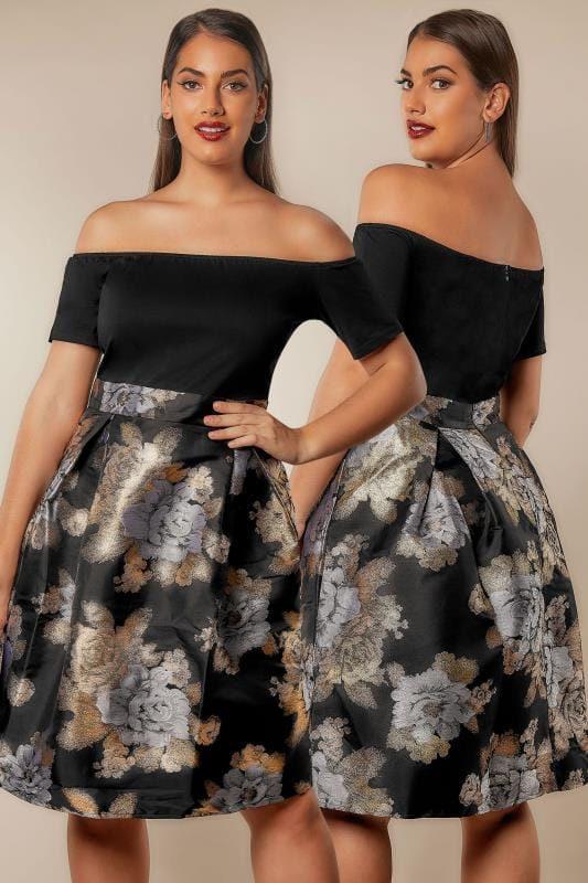 Plus Size Party Dresses AX PARIS CURVE Black & Metallic Bardot Dress With Jacquard Skirt