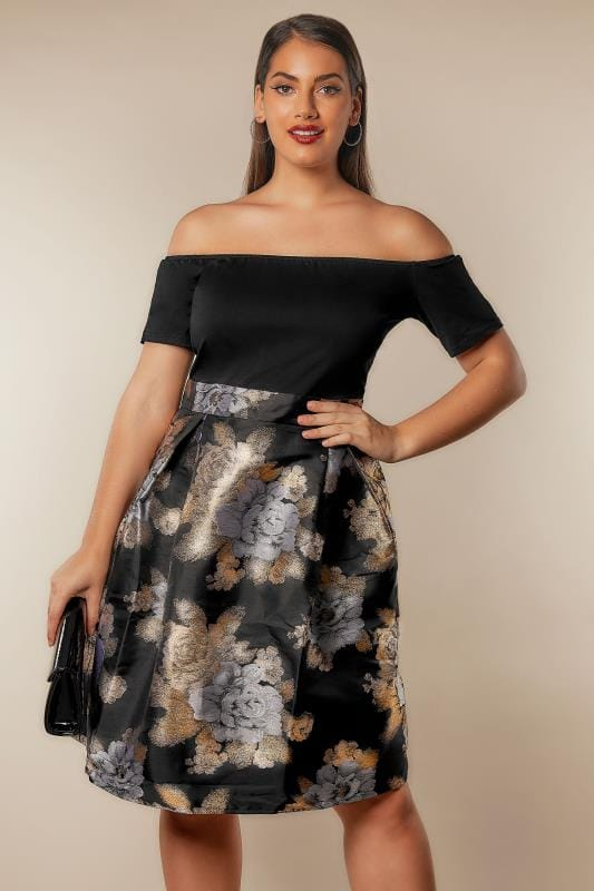 AX PARIS CURVE Black & Metallic Bardot Dress With Jacquard Skirt