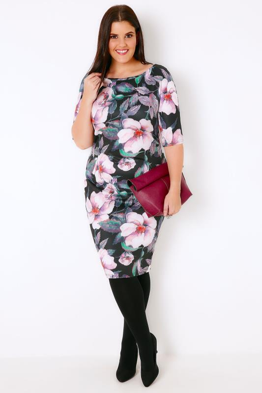 AX PARIS CURVE Black & Multi Floral Print Midi Scuba Dress Sleeves