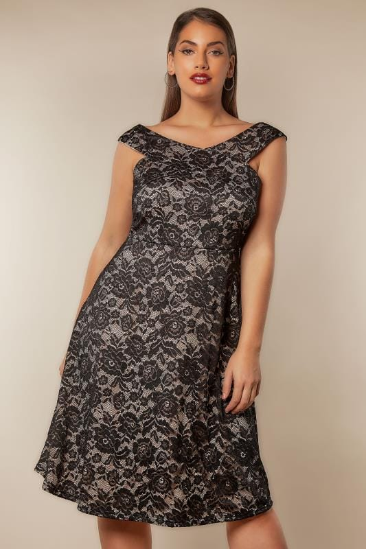 Plus Size Party Dresses AX PARIS CURVE Black & Nude Lace Overlay Sleeveless Skater Dress