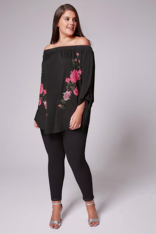 AX PARIS CURVE Black & Pink Rose Embroidery Style Bardot Top