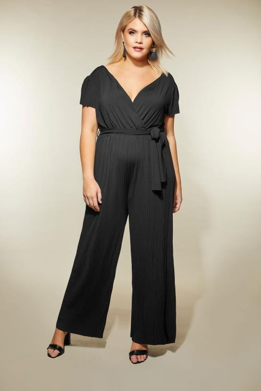 Ax Paris Curve Black Pleated Jumpsuit With Cap Sleeves Plus Size 16