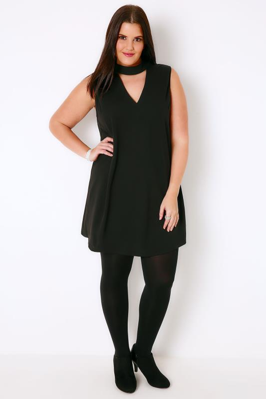 AX PARIS CURVE Black Shift Dress With Choker Necklace, Plus size ...