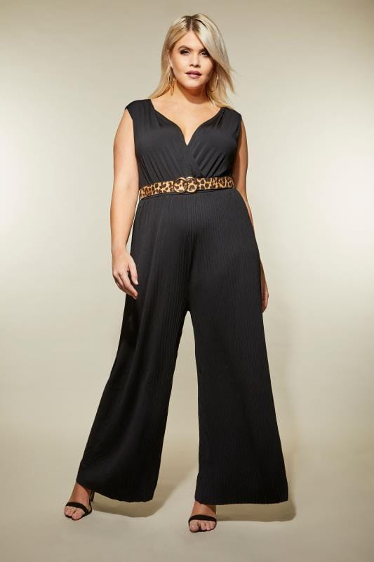 Plus Size Jumpsuits AX PARIS CURVE Black Sleeveless Pleated Jumpsuit