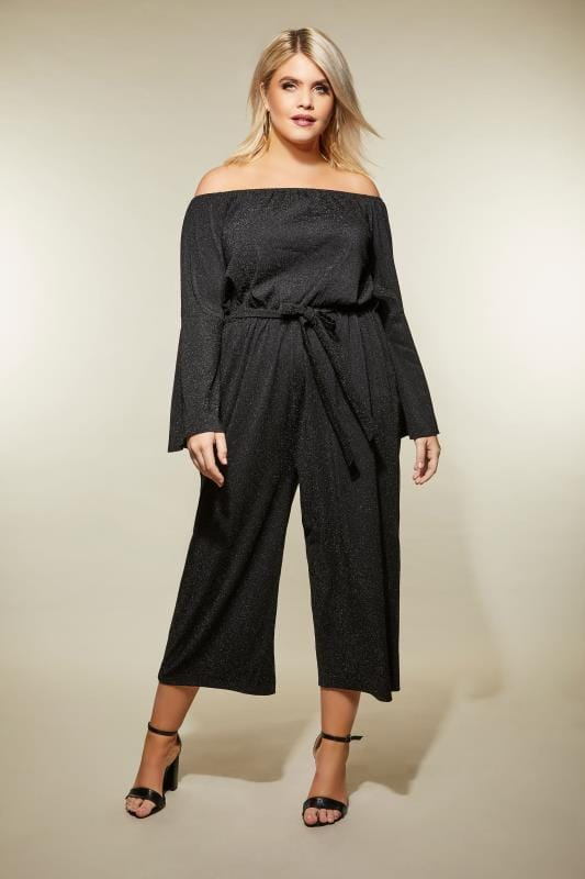 Plus Size Jumpsuits AX PARIS CURVE Black Sparkle Bardot Jumpsuit