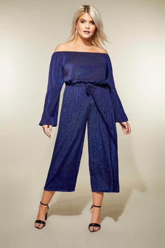Plus Size Jumpsuits AX PARIS CURVE Blue Sparkle Bardot Jumpsuit