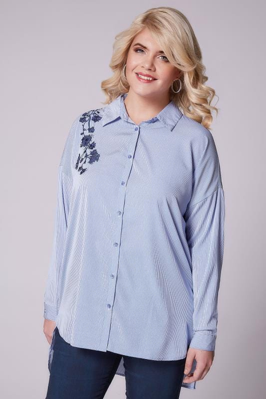 AX PARIS CURVE Blue & White Pinstripe Shirt With Floral Embroidery