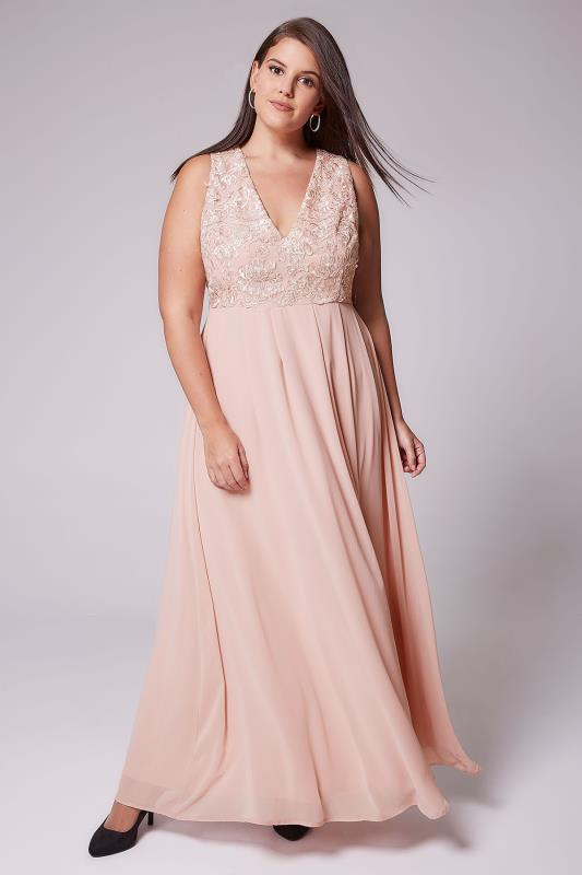 AX PARIS CURVE Blush Pink Maxi Dress With Lace Overlay Bodice