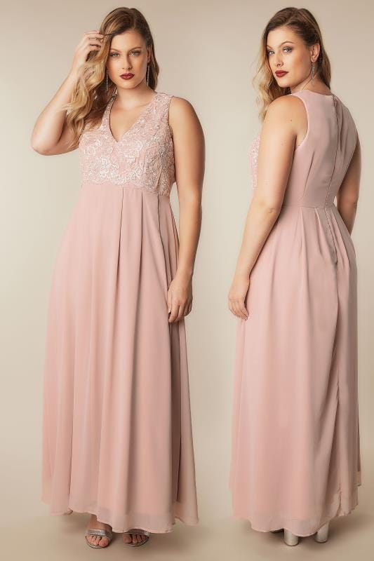 Plus Size Maxi Dresses AX PARIS CURVE Blush Pink Maxi Dress With Lace Overlay Bodice