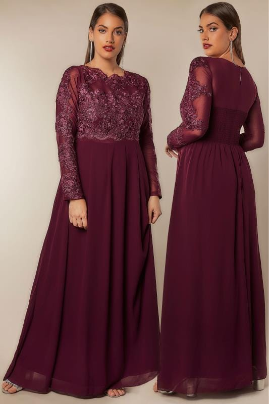 Plus Size Maxi Dresses AX PARIS CURVE Burgundy Floral embroidered Maxi Dress