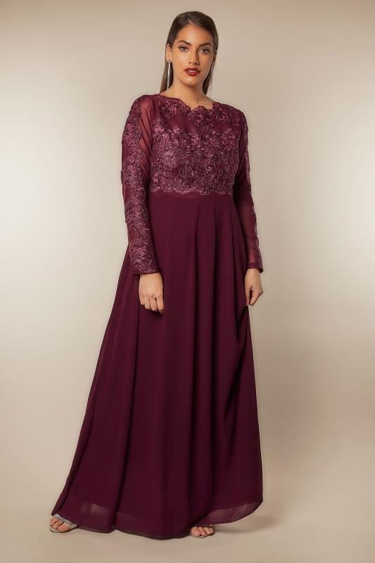 Ax Paris Curve Burgundy Floral Embroidered Maxi Dress Plus Size 16