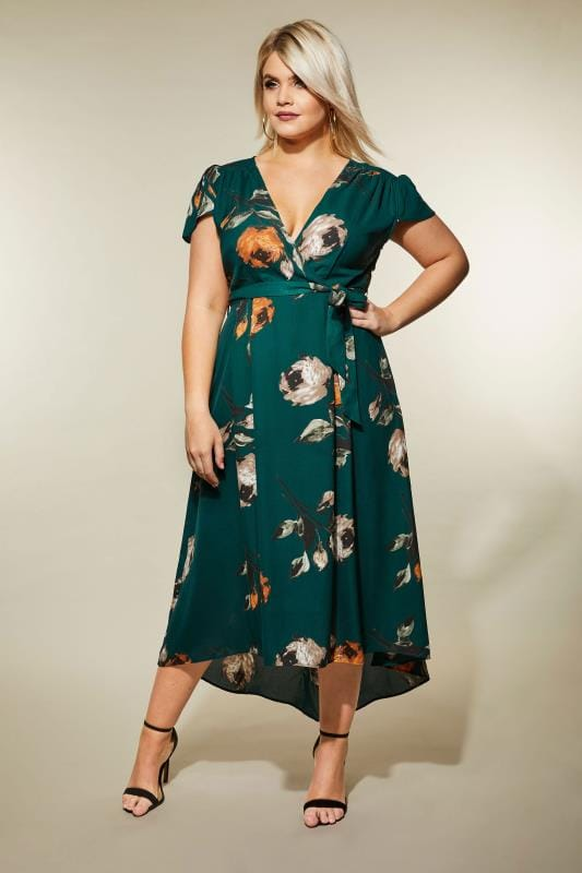 Plus Size Midi Dresses AX PARIS CURVE Dark Green Floral High Low Wrap Dress