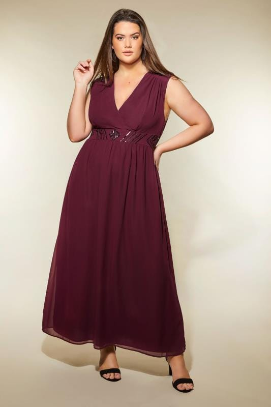AX PARIS CURVE Dark Purple Sequin Embellished Maxi Dress