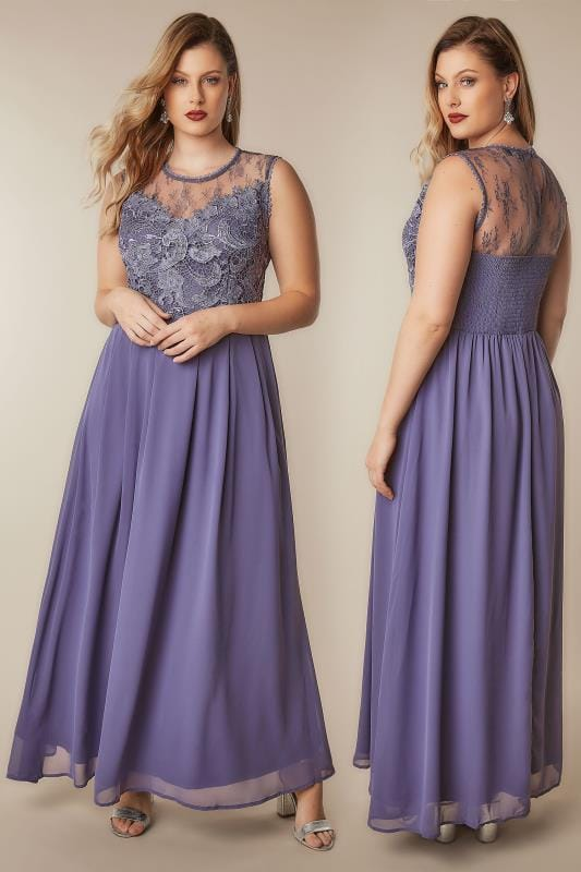 Plus Size Evening Dresses AX PARIS CURVE Dusky Purple Sleeveless Maxi Dress With Floral Lace Bodice
