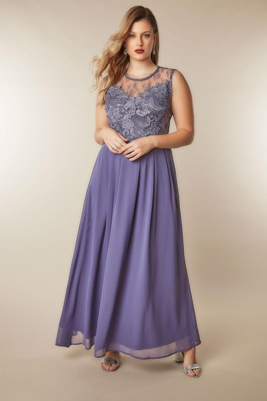 AX PARIS CURVE Dusky Purple Sleeveless Maxi Dress With Floral Lace Bodice