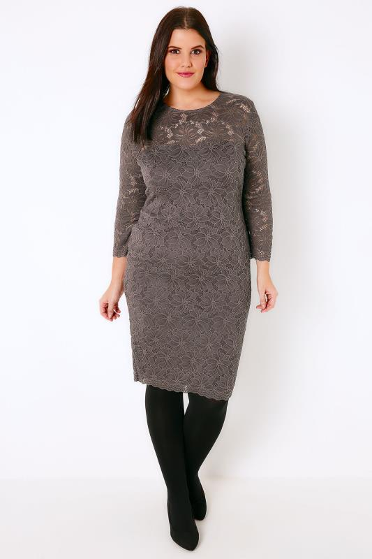 AX PARIS CURVE Grey Lace Overlay Dress With Sweetheart Neckline
