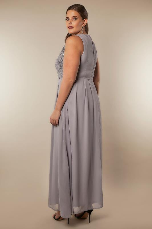 AX PARIS CURVE Grey Sequin Maxi Dress